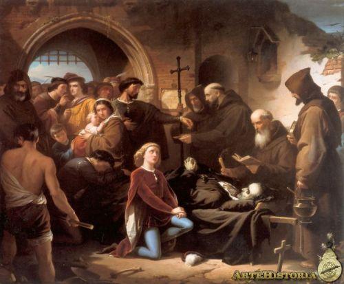 La escena representa el momento de la colecta mostrando en primer plano el muerto, con la cabeza separada del cuerpo, sobre unas parihuelas, velado por su joven pajecillo Morales.