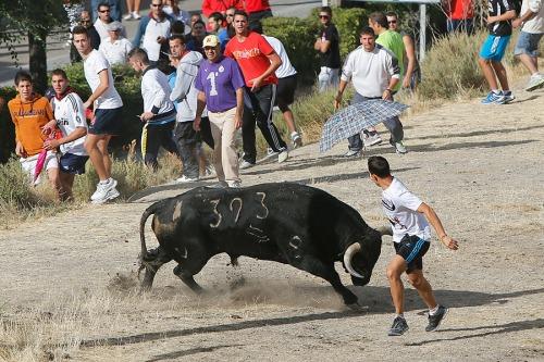 Recortador en la explanada de Gascón, durante las fiestas de 2012.
