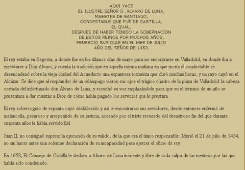 Juan II no superó el ajusticiamiento de Don Álvaro de Luna. Falleció un año después que el condestable.