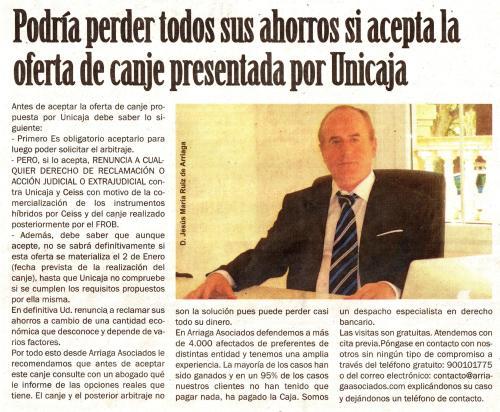 Mensaje claro de Arriaga sobre la posibilidad de perder todos los ahorros si se acepta el canje presentado por Unicaja.