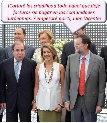 Juan Vicente Herrera y Mariano Rajoy, acompañados por Lola de Cospedal, en primera fila.