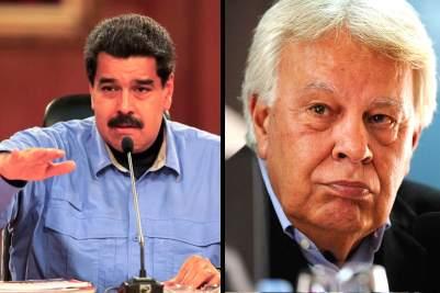 Nicolás Maduro, borracho tabernario de Venezuela y, Felipe González, expresidente del Gobierno español.