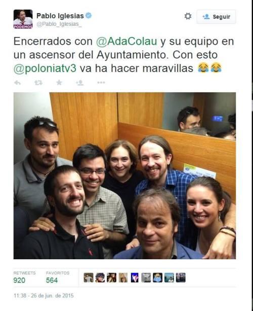 Pablo Iglesias y Ada Colau encerrados en el ascensor, junto con otros comunistas bolivarianos.