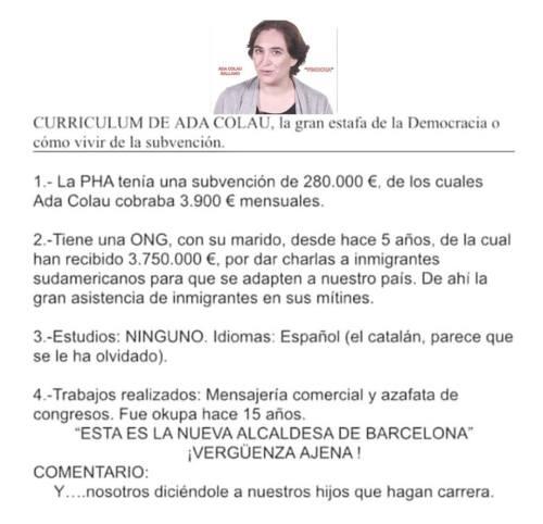 Ada Colau, alcaldesa de Barcelona y 'okupa' de profesión.