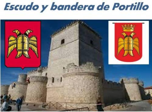 Escudo y bandera flanqueando la torre del homenaje del Castillo de Portillo.