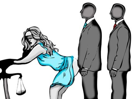 representación de la Justicia con sus inconfesables y tradicionales vicios