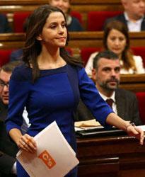 Inés Arrimadas, líder de Ciudadanos en el Parlamento catalán y azote de radicales independentistas.