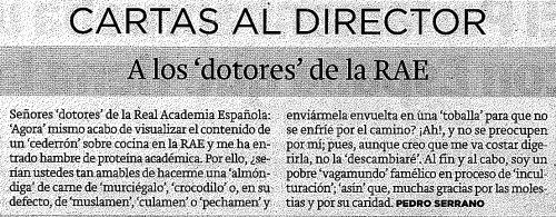 """Recorte de prensa de El Norte de Castilla. Sección """"Cartas al Director"""", 10 de noviembre de 2015."""