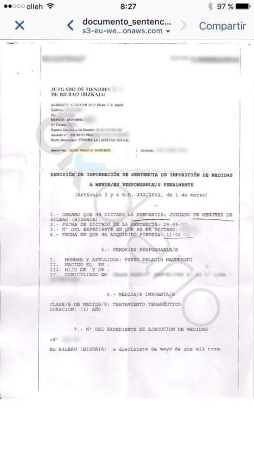 Sentencia condenatoria del pederasta de la organización bolivariana, Podemos.