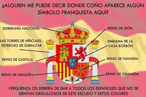 Bandera 'franquista' como piensa la izquierda más cavernaria y cavernícola, además del socialismo bolivariano.