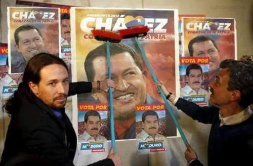 'Coleta Morada' colaborando en la campaña electoral del difunto Chávez, verdadero enemigo de Venezuela y benefactor de Nicolás Maduro.