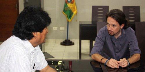 Evo Morales y Pablo Iglesias, dos representantes de la vulgar, mediocre y atroz política bolivariana.