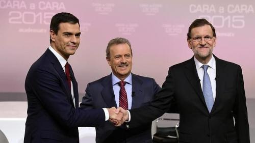 Rajoy y Sánchez, en los momentos previos al debate.