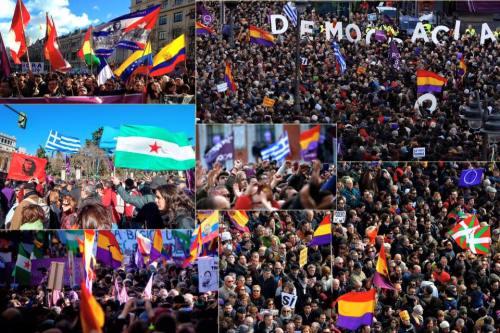 Grupos podemitas con la bandera de la muerte y la represión. Una forma de volver a las cavernas. ¡No pasarán!