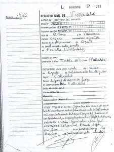 Certificado de defunción del año 1980.