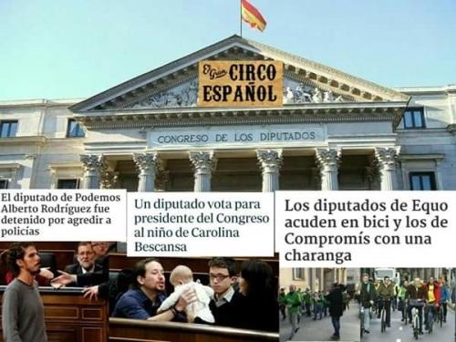 Las escenas vividas el día de la formación de la Mesa del Congreso de los Diputados son más propias d eun circo que de un Parlamento serio.