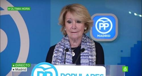 Esperanza Aguirre, presidenta dimisionaria del PP madrileño.