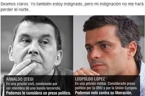 Arnaldo Otegi (terrorista de ETA) y Leopoldo López (preso político venezolano y líder de la oposición).