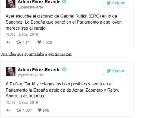 Pérez reverte reparte 'zascas' a un ignorante charnego llegado al Parlamento por la deficiente formación de miles de ciudadanos.