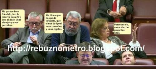 Líderes de UGT y CC.OO. así como el impresentable presidente valenciano y el presidente de Castilla La Mancha.