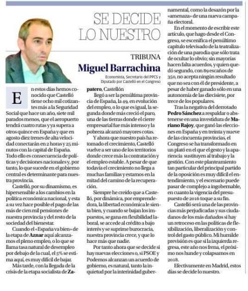 Miguel Barrachina Ros es diputado del PP en el Congreso por Castellón.