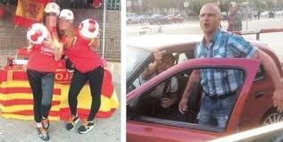 Las dos jóvenes agredidas y uno de los presuntos agresores