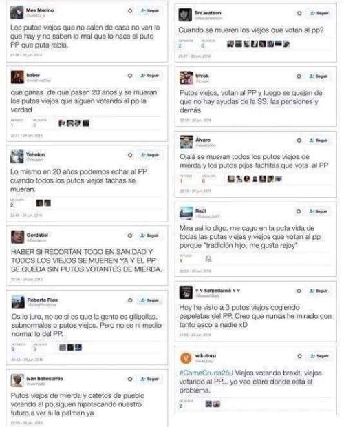 Cientos de podemitas insultan a las personas mayores y desean la muerte de ellas por votar al PP.