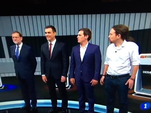De izquierda a derecha: Mariano Rajoy, Pedro Sánchez, Alberto Rivera y Pablo Manule 'Mezquitas'.