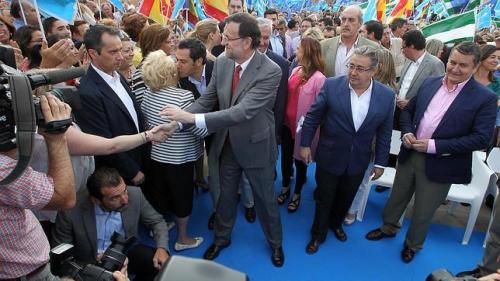 Mariano Rajoy, durante uno de tantos actos electorales de campaña.