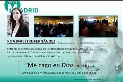 Rita Maestre, ejemplar niña-pija de la izquierda madrileña, conocida como asaltacapilla.