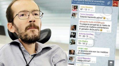 Los mensajes de burla que miembros del equipo de Pablo Iglesias dedicaron a Pablo Echenique.