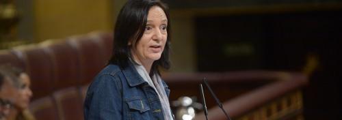 Carolina Bescansa, la diputada de 'Podemos' que ha vuelto a insultar a sus coterráneos y que paseó a 'Bescansín' por el curso del Congreso.