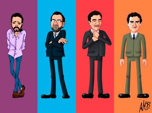 Caricaturas de los líderes políticos.
