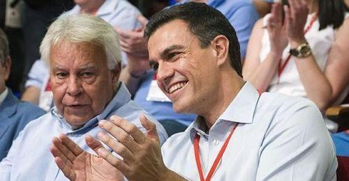 Felipe González, expresidente del Gobierno y Pedro Sánchez, pseudolíder del PSOE que ha destrozado el partido y bloqueado la política nacional del Gobierno en funciones.