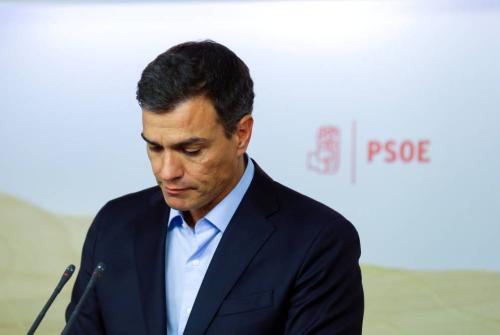 Pedro Sánchez, durante la rueda de prensa posterior a la reunión de la permanente de la ejecutiva federal, este 26 de septiembre. (Reuters)