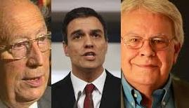 De izquierda a derecha: el profesor, Tierno Galván; el traidor, Pedro Sánchez y el expresidente del Gobierno, Felipe González.