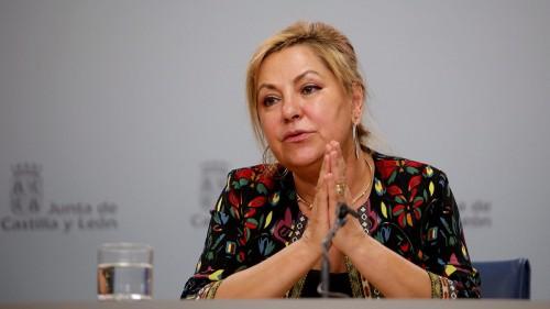 Rosa Valdeón Santiago en el momento de su despedida como vicepreisdenta de la Junta de Castilla y León.