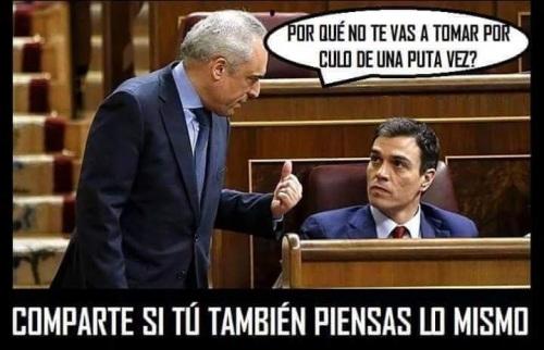 """Ejemplo de cómo se las gastan en el PSOE. Sánchez va a ser declarado """"persona non grata"""". Foto robada en Facebook."""