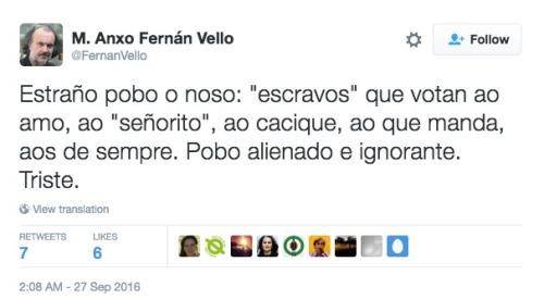 Tuit del mediocre diputado gallego, Miguel Anxo Ferrán