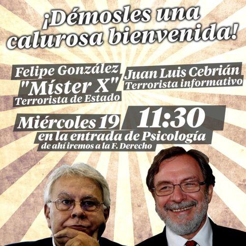 Cartel de los terroristas antisistema para recibir a Felipe González y a Juan Luis Cebrián.