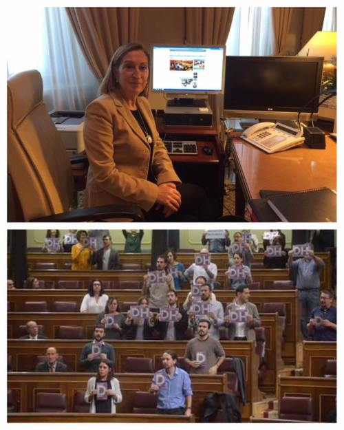 ARRIBA, Ana Pastor, presidenta del Congreso de los Diputados. ABAJO, podemitas en pleno acto de postureo y estupidez.