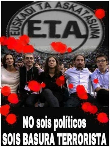 la basura de ETA sumada a la basura de Podemos tiene como resultado más basura descontrolada.