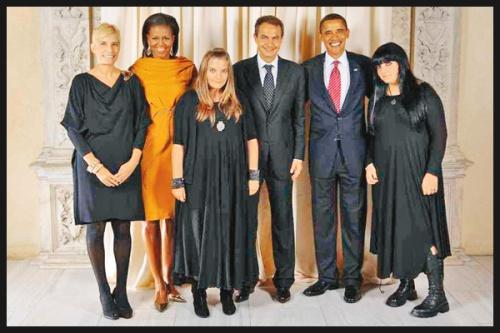 Familia Zapatero al completo en su visita a la Casa Blanca, tras el agravio de no levantarse ante la bandera.