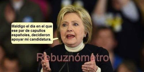 La señora Clinton maldice a 'Pedroflauta' Sánchez y a 'alfalfa' Iceta.