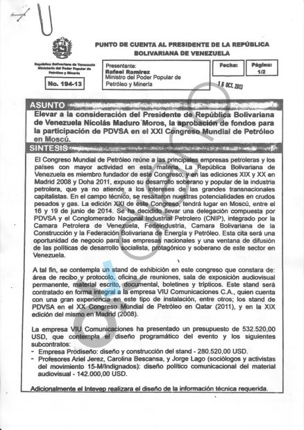 Documento donde se lee la solicitud de dinero a Venezuela para Bescansa.