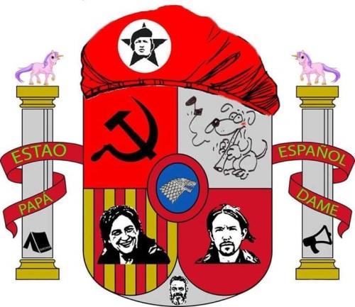 "Escudo del ""Estado de Desecho"" en que pretende convertir a España la formación radical de 'Podemos'."