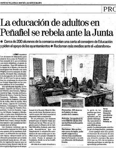 Centros de adultos y localidades de Castilla y León comienzan a rebelarse contra la dejadez de la Consejería de Educación.