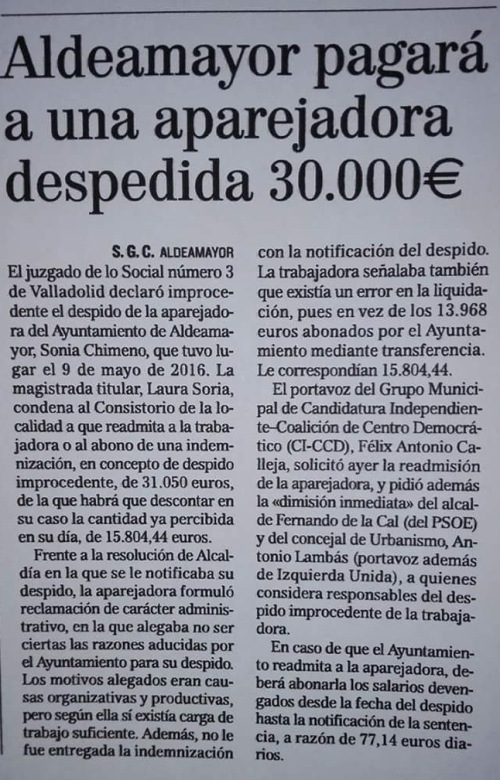La jueza manifiesta la ilegalidad del despido y pone un correctivo al equipo de gobierno del Ayuntamiento de Aldeamayor de San Martín.
